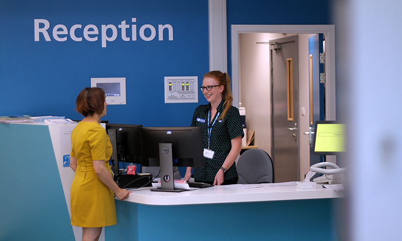Hospital outpatients reception
