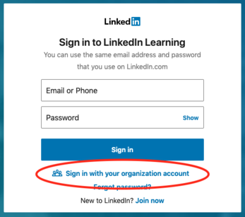 LinkedIn Learning Sign-in screen showing the organization link