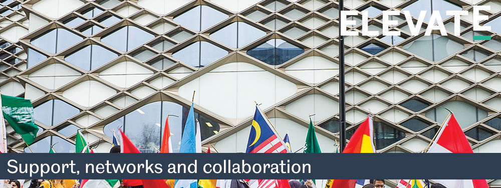 Banner image showing the Diamond building with flags in front, and text 'Networks and collaboration'