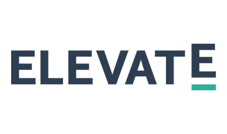 The word 'elevate' in block upper case dark blue text.