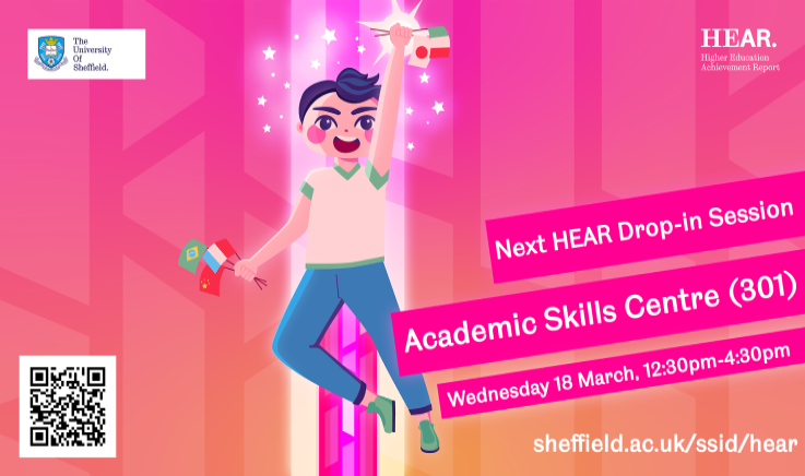 Next HEAR Drop-In - Academic Skills Centre (301), 12:30-4:30pm on Wednesday 18 March