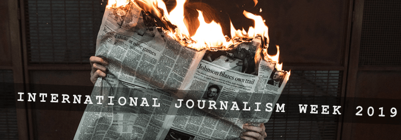 International Journalism Week 2019 banner, depicting a newspaper in flames