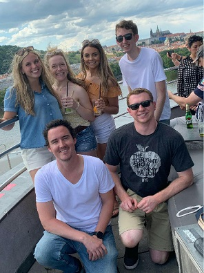 Students on boat in Prague