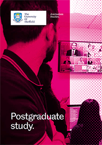 Front cover of the brochure featuring students in the Broadcast Zone