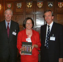 Author Helen Mathers with Richard Carden and the Vice-Chancellor