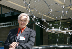 Photo: Professor Sir Harry Kroto with 'Giant Buckyball'