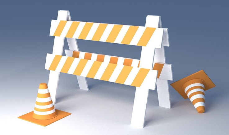 Building work barrier and cones.