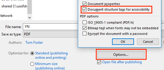Screenshot showing the Save As PDF > Options menu in Microsoft Word 2016
