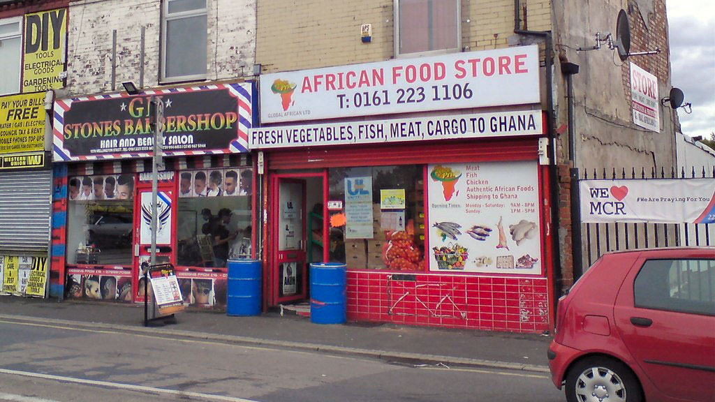 A Ghanaian food shop on Wellington Street in Gorton, Manchester, UK