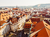 An aerial view of buildings in the Old Town area of Prague