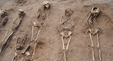 Skeletons found at the site of the mass grave