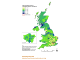 Map showing unemployment rates across the UK