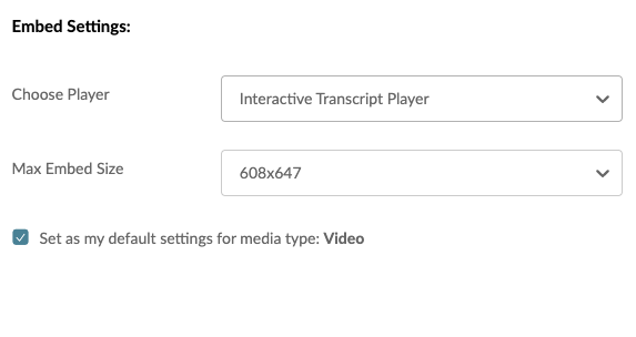 Screenshot displaying the prompt to select the Interative Transcript Player in Blackboard.
