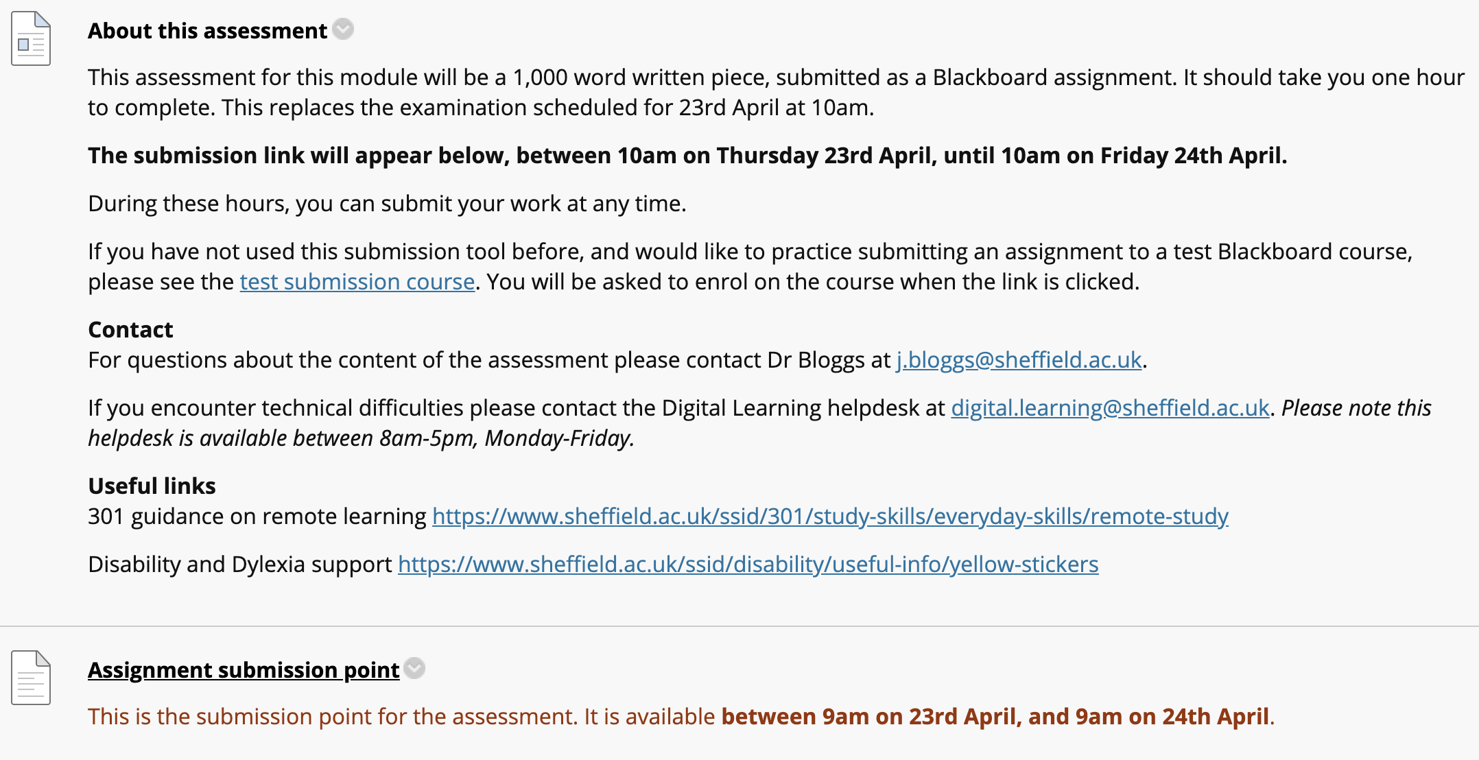 Example text for Spring Alternative Assessment section of Blackboard course. See Google Doc for text