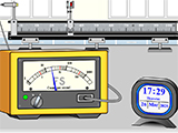 A screenshot of the Flashy Science website showing a Geiger counter