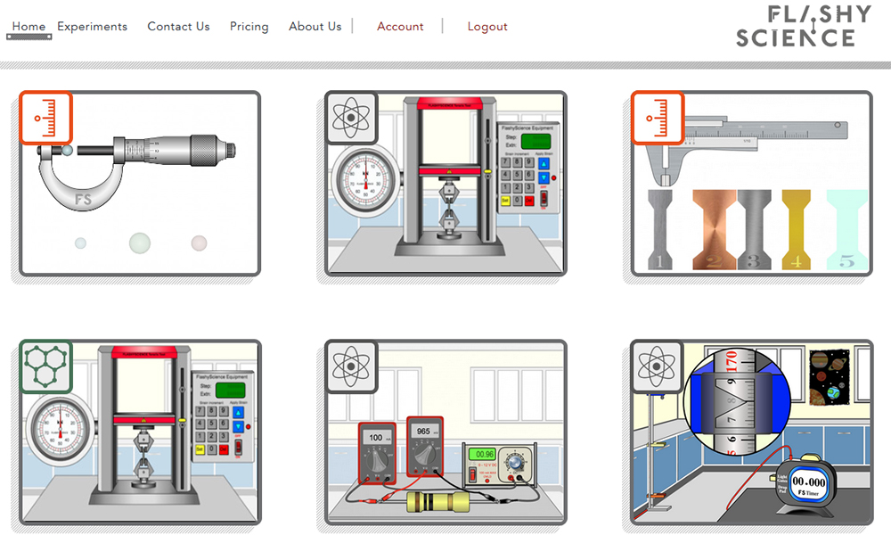 A screenshot of the Flashy Science homepage showing photos of various experiments