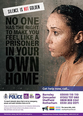 South Yorkshire Police domestic violence poster showing a woman