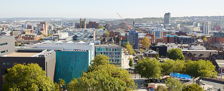 Sheffield University campus aerial view