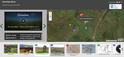 Screenshot of a storymap from the Dept of Archeology