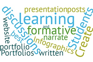 montage of words associated with blended and digital learning