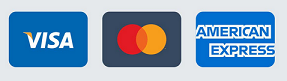 Accept credit card payment options displaying logos for Visa, Mastercard and American Express
