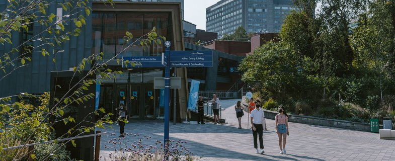 Students on campus outside Students' Union
