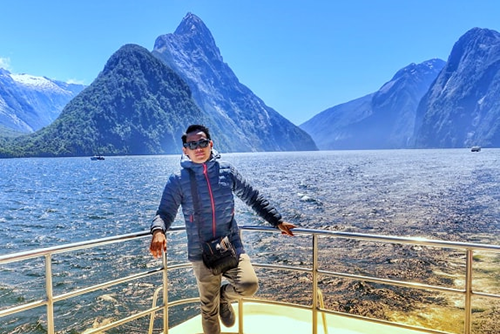 Dr Andrik Rampun at Milford Sound south island New Zealand
