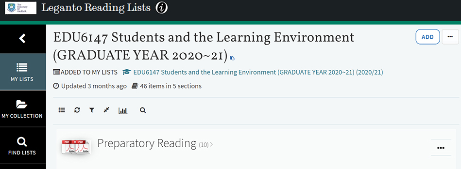 Screengrab of the EDU6147 Reading List