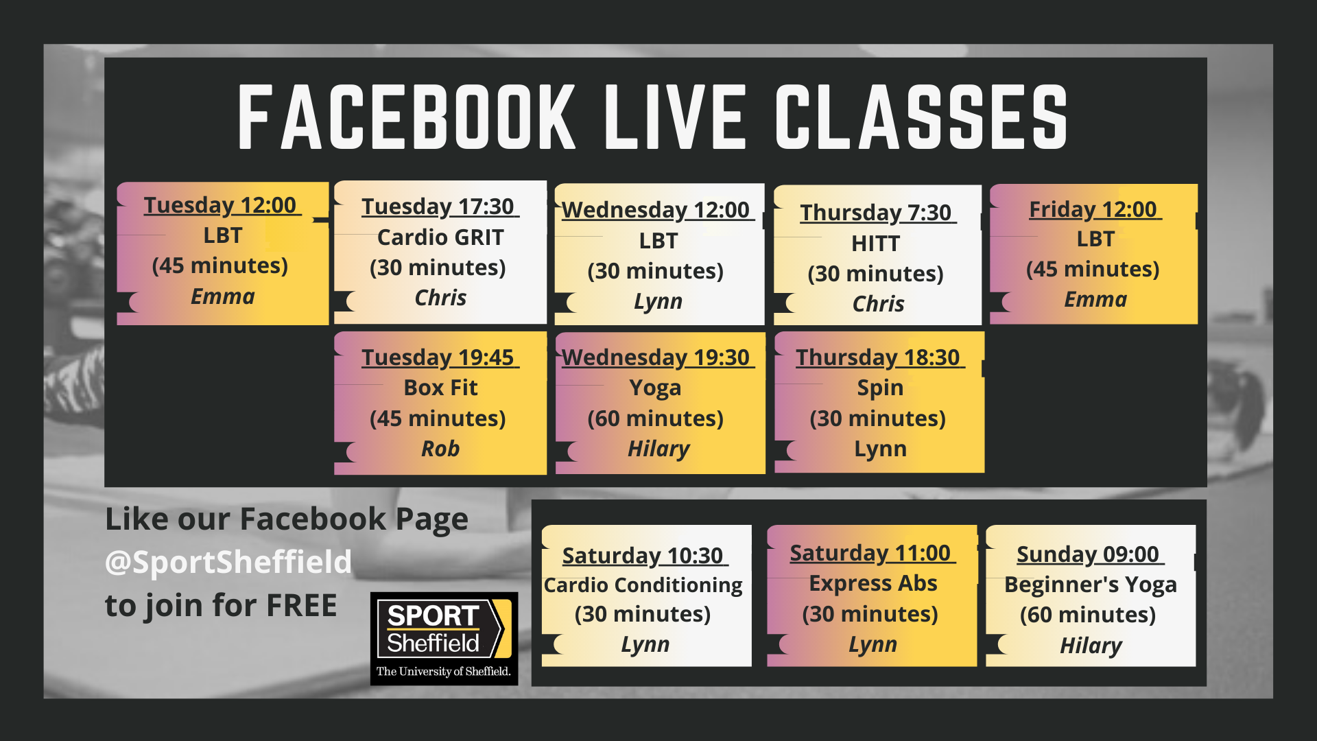 Sport Sheffield Facebook Live Timetable