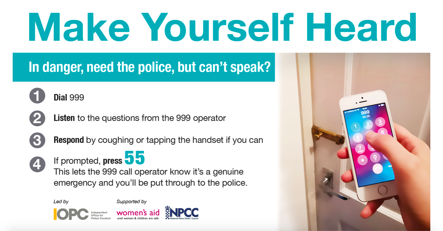 Poster with information on getting support from the police without needing to speak