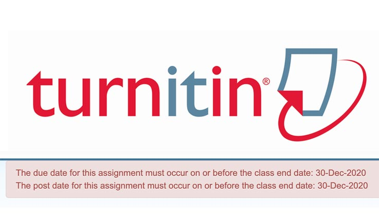 Turnitin screen with error message as the class has expired