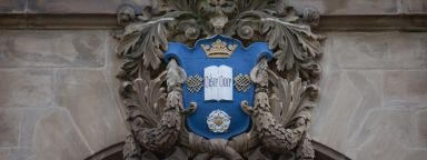 The University of Sheffield crest on the front of the Sir Frederick Mappin Building