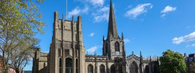 A shot of Sheffield Cathedral on a sunny day.