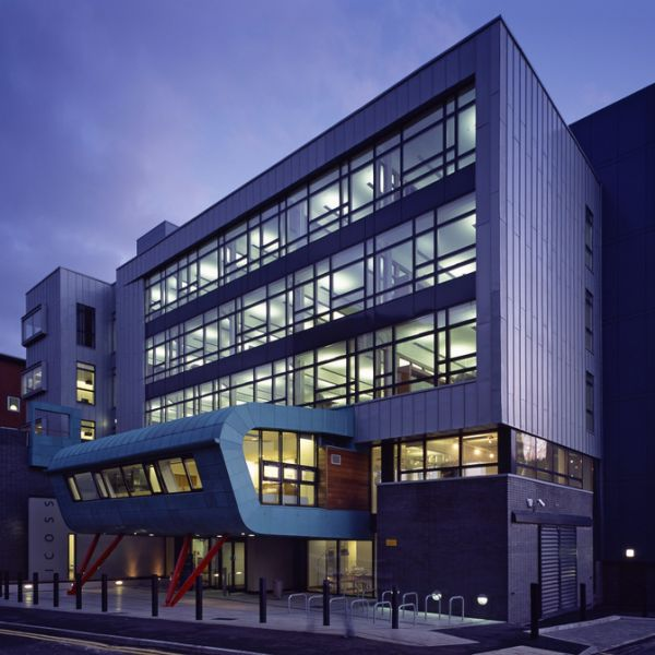 ICOSS building in the evening, at the University of Sheffield