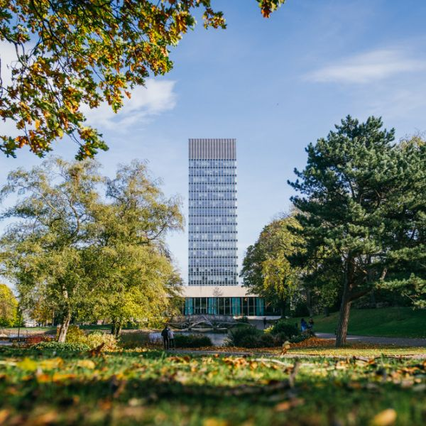 Arts tower as seen from western park
