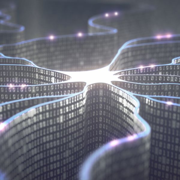 Abstract image depicting computer neural networks