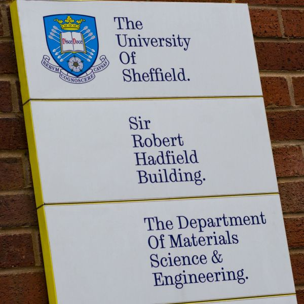 Sign outside the Sir Robert Hadfield Building