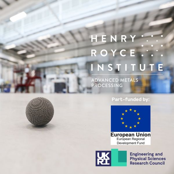 Inside the RTC, with a 3d-printed lattice ball in the foreground and funding logos ERDF and EPSRC