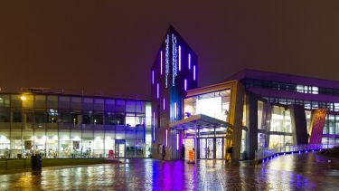 Students' Union building at night