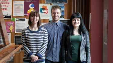 Group of three postgraduate history students