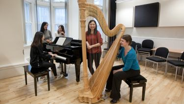 Group of postgraduate music students with harp