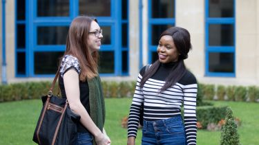Image of Katharine Palmer and Precious Ogbuji, postgraduate School of Health and Related Research students
