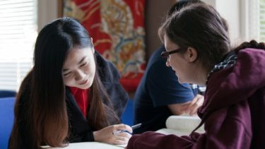 East Asian Studies postgraduate at desk
