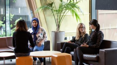 Group of postgraduate education students in the students' union
