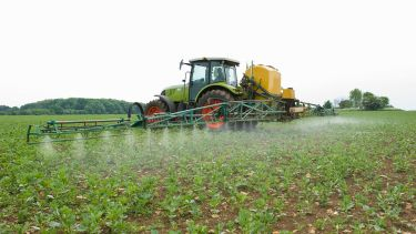 Tractor spraying pesticide