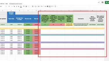Example of Polopoly content audit spreadsheet with highlight.