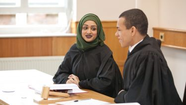 Students take part in a moot court.