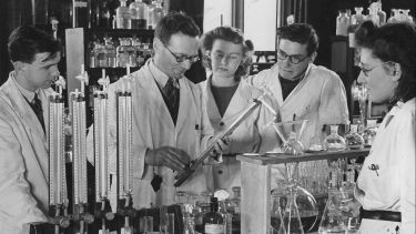 Hans Krebs in a lab