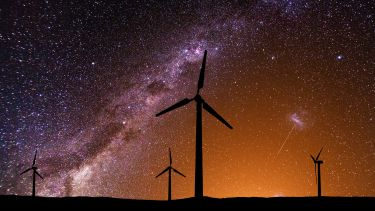Wind farm at night