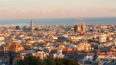 A view over Barcelona at sunset.